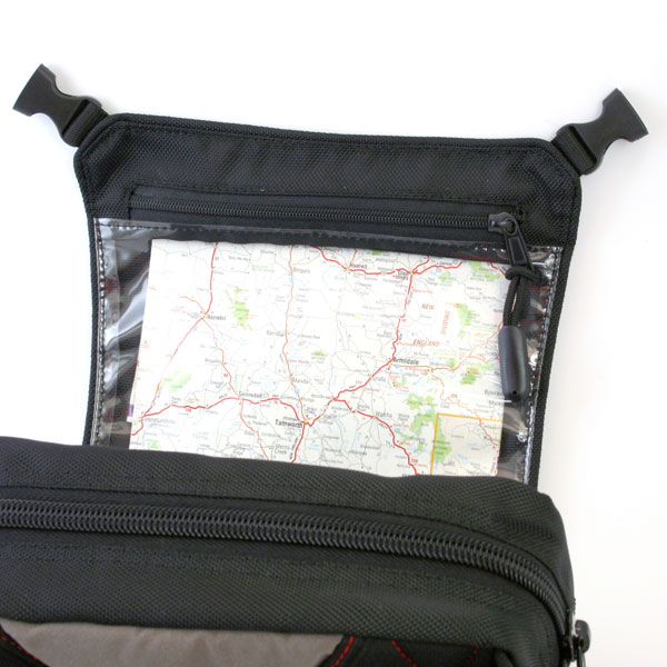 No one should go riding without back up. In a day and age where technology offers effortless pin-point navigation, the trusty map will never need battery power to operate. The Matrix pack has the map pocket orientated so you can read it with out removing it. The clear window also allows operation of touch screen devices when things are going well.