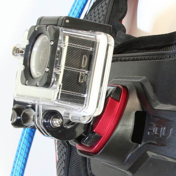 """No More ground shots"" The POV mount plate has been angled at 20 degrees to allow optimal positioning of action cams whilst leaning forward in the attack position. The optimal angle allows a full range of adjustability for any action sport."